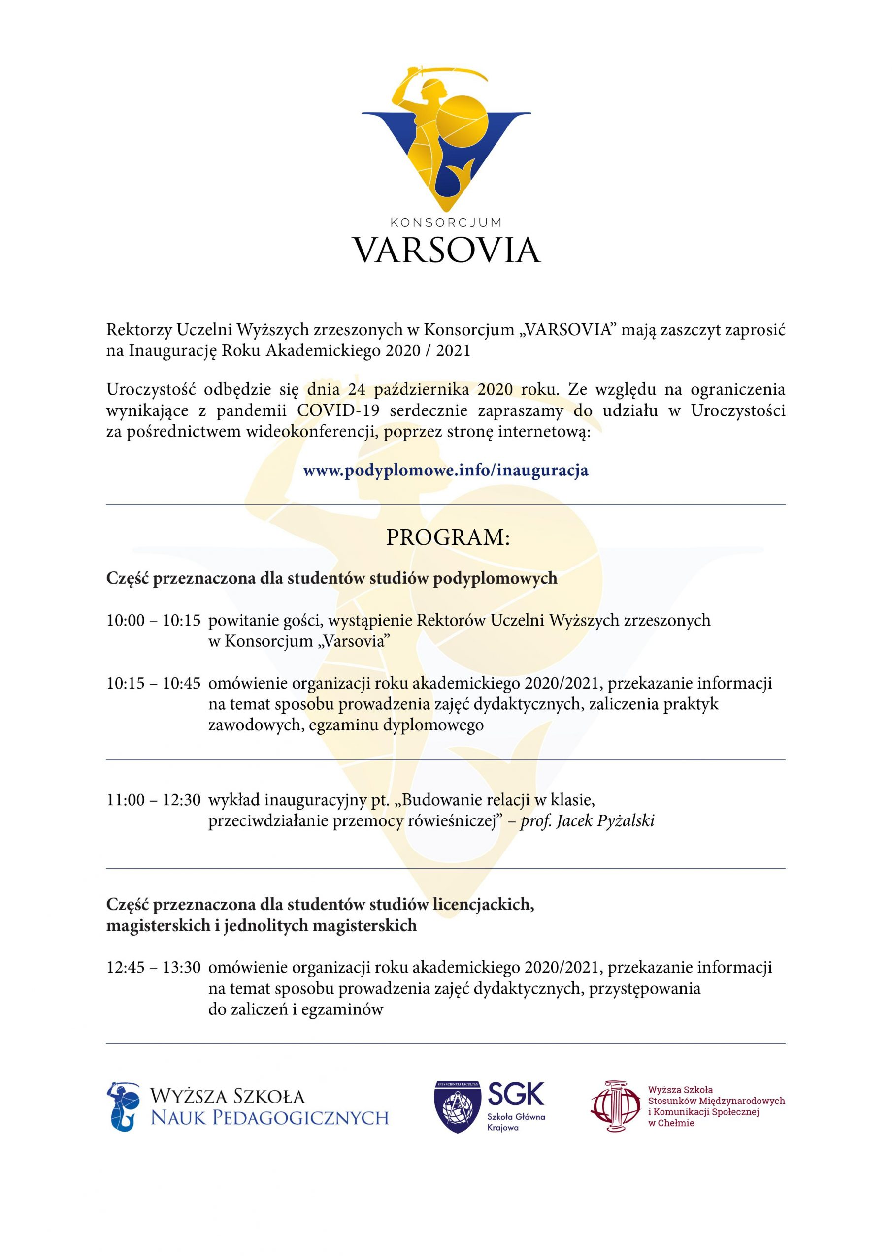 Inauguracja Roku Akademickiego 2020/ 2021